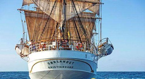 """最古老全帆高桅船""""Sørlandet""""号首航香港"""